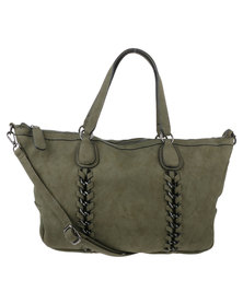 Joy Collectables Ladies Chain Trim Tote Green