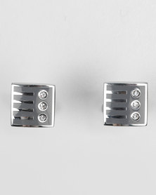 Mens Cufflinks Rectangle Bar Silver-tone