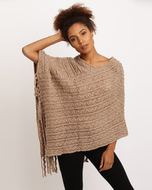 Joy Collectables Cable Knit Poncho Taupe