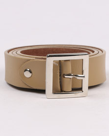 Joy Collectables Skinny Leather Belt Nude