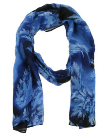 Joy Collectables Ladies Fashion Print Scarf Blue