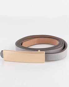 Joy Collectables  Ladies Belt with Gold-tone Bar Detail Grey