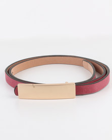Joy Collectables Ladies Belt with Gold-tone Bar Detail Red