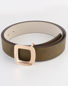 Joy Collectables Ladies Belt with Gold-tone Detail Khaki