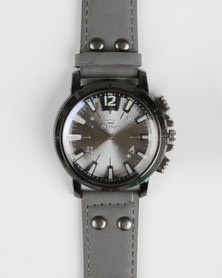 Joy Collectables Mens Strap Watch With Detailed Strap Grey