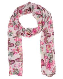 Joy Collectables Ladies Floral Scarf Pink