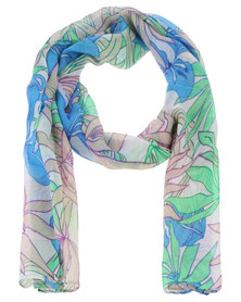 Joy Collectables Ladies Fashion Scarf With Floral Detail Blue