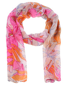 Joy Collectables Ladies Fashion Scarf with Floral Detail Pink