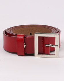 Joy Collectables Skinny Leather Belt Red