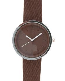 Joy Collectables Mens Colour Strap Watch Brown