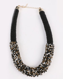 Joy Collectables Beaded Mesh Necklace Black
