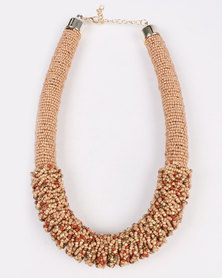 Joy Collectables Beaded Mesh Necklace Nude