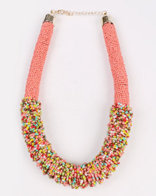 Joy Collectables Beaded Mesh Necklace Pink
