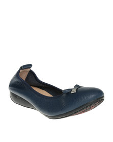 Julz Leather Plain Pump Navy