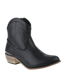Julz Leather Holly Heeled Boot Black