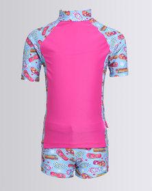 Just Jump! Rash Vest Set With Flip Flop Print Multi