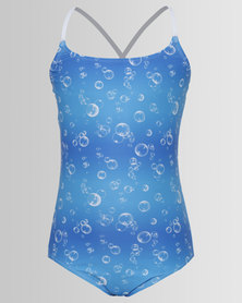 Just Jump! X-Back Bubble Print Swimsuit Blue