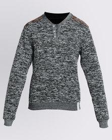K7Star Ashton Henley Sweatshirt Grey Melange