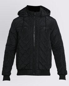 K7Star Rio Quilted Padded Jacket Black