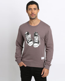 K7Star Sneaker Print Crew Sweatshirt Brownie Brown