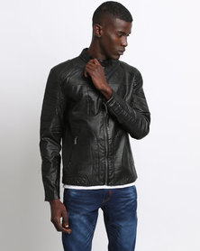 K7Star Pillar Biker Jacket Black