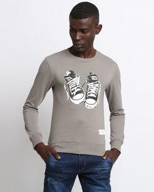 K7Star Sneaker Print Crew Sweatshirt Olive