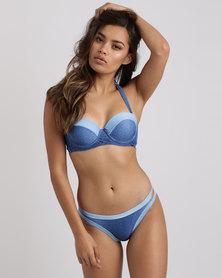 Kangol Denim Balconette Bikini Top Blue