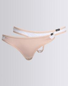 Kangol 2 Pack Lace Thong Beige/White