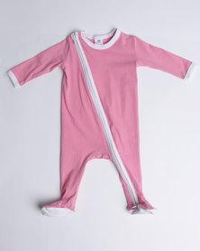 Kapas  L/S Full Footed Babygrow Pink