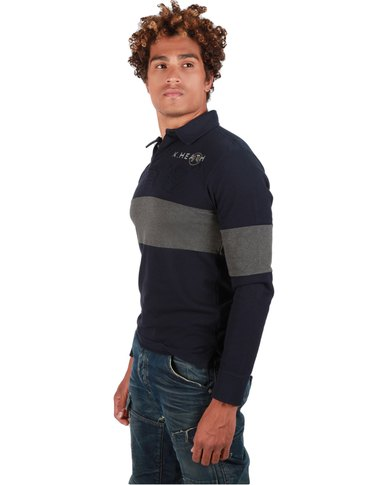 Kingsley Heath Patched Long Sleeve Golfer Wildebeest Navy