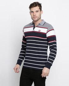 Klevas Stripe Long Sleeve Golfer Navy