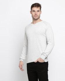 Klevas Classic V Neck Knitwear Slate Grey