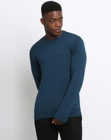 Klevas Classic Crew Neck Knitwear Marina Blue