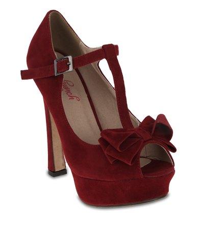 Launch Bow Peep-Toe Heels Dark Red