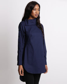 Leigh Schubert Karla Side Button Shirt Navy