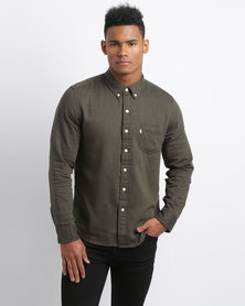 Levi's Classic 1 Pocket Pocan Night Strip Shirt Olive
