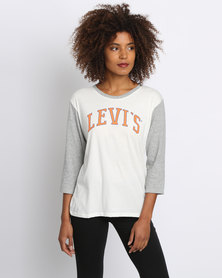 Levi's 3 Quarter Sleeve Sporty Tee White and Grey