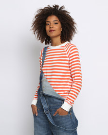 Levi's Classic Crew Sweatshirt Orange/White Stripe