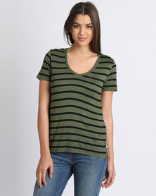 Levi's Stripe Valley View T-Shirt Olive
