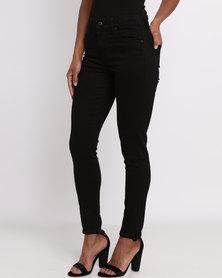 Levi's 721 High Rise Skinny Black Sheep Jeans Black