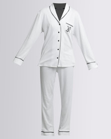 Lila Rose Interlock Button Thru Pyjama Set White