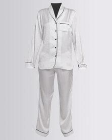 Lila Rose Satin Shawl Collar Pyjama Set White/Black