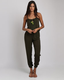 Lila Rose Grecian Jumpsuit Olive