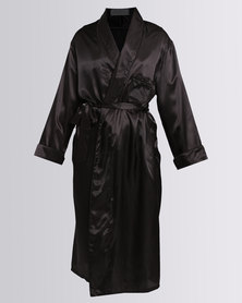 Lila Rose Long Satin Piped Robe Black