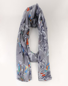 Lily & Rose Print  Scarf Grey