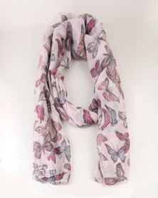 Lily & Rose Butterfly Print Scarf Cream