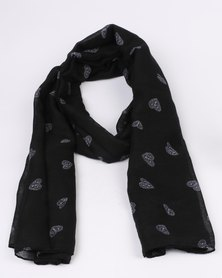 Lily & Rose Scarf With White Hearts Detail Black