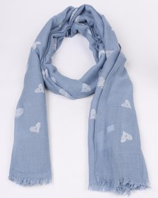 Lily & Rose Scarf With White Hearts Detail Blue