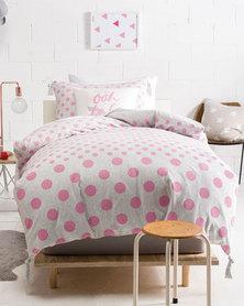 Linen House Dot Duvet Cover Set Pink