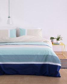 Linen House Kennedy Duvet Cover Set Blue